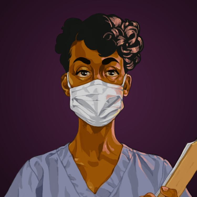 illustration by Ashley Floréal of a Black healthcare worker wearing scrubs and a face mask