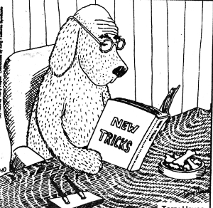 drawing of a dog with glasses reading a book of New Tricks
