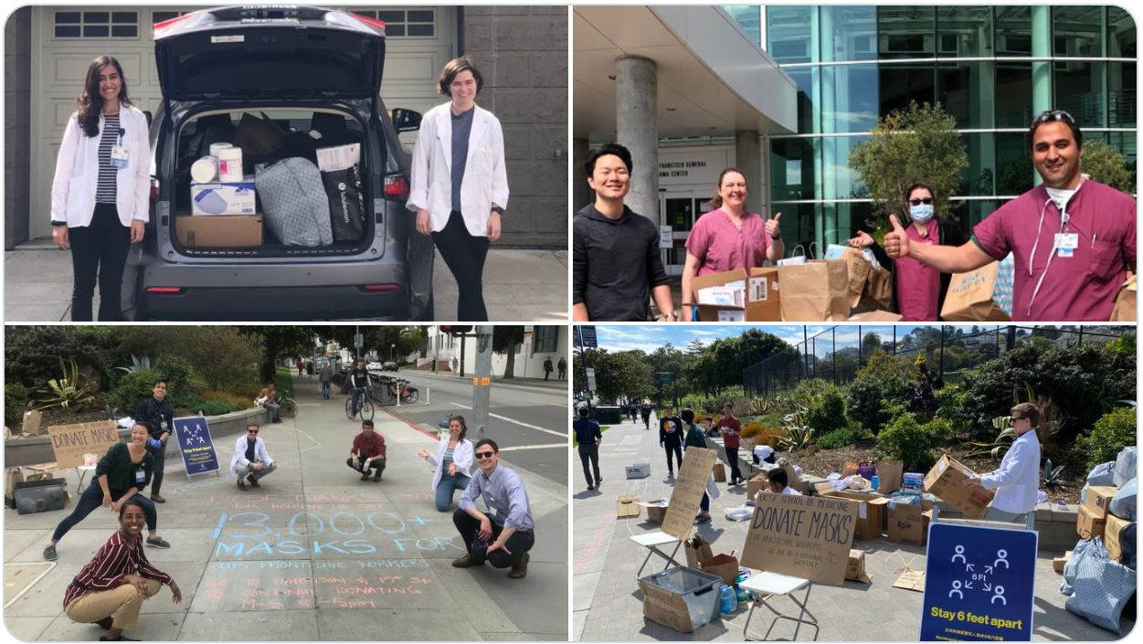 4 photos of UCSF students collecting masks and other critical items