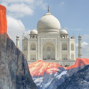 photo-collage of Yosemite Valley and Taj Mahal